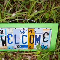 WELCOME, OOAK License Plate Art, Home Decor Wall Hanging, unique gift, christmas gift, front door, entry way