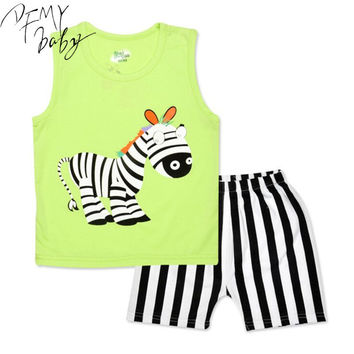 New Cartoon Summer Baby Boy Clothing Set Tank Vest Top + Shorts Kid Boy Summer Sleeveless Set Children Boy Clothes Set