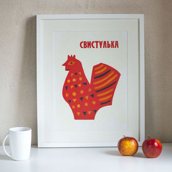 Red clay whistle digital print, Russian folk toy hen, red chicken fun wall art, Russian style poster children's toy, hen print vintage style