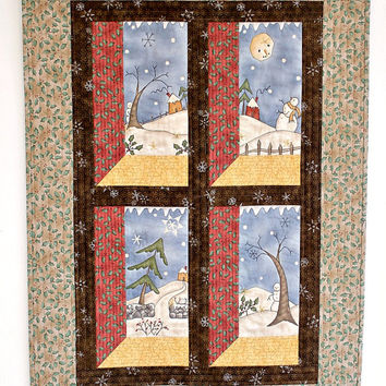 Christmas Wall Hanging,  Quilted Snowman Wall Hanging, Winter Wall Quilt, Whimsical Country Home Decor, Quiltsy Handmade