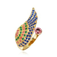 18K Yellow Gold Plated Multi-color Swarovski Elements Crystal Wing Opening Ring, Size 8