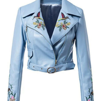 Blue Lapel Embroidery Floral Leather Look Biker Jacket