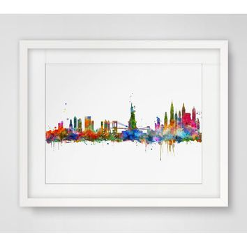 New York Skyline City Poster Watercolor  Painting New York  Wall Hanging Skyline Wall Decor Without Frame New York  Art Print Wa