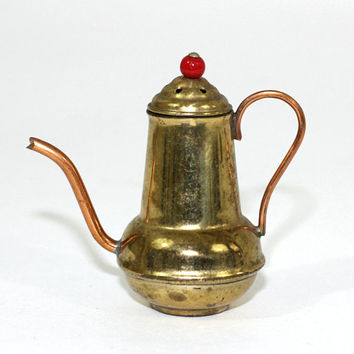 Small Toy-Sized Teapot with Lid Made in Japan | Brass Pot with Copper Handle and Spout | Vintage Coffeepot / Teapot Small Shadowbox Size