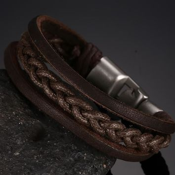 Men's Braided Leather Alloy Buckle Bracelets