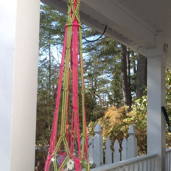 Modern plant hanger or terrarium display in pink and green 4 mm Polyolefin, unique macrame, colorful nursery storage