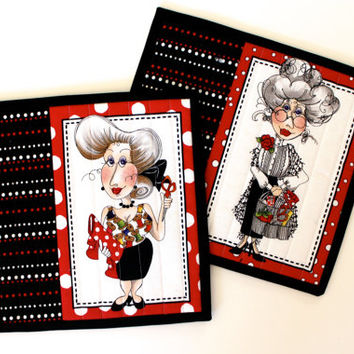 Quilted Mug Rug  Black White Red  Quilters Gift  Set of 2 Quilts  Sewing Women Handmade Homemade