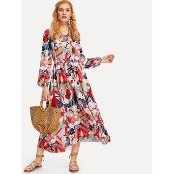 Multicolor V-Neck Long Sleeve Flared Maxi Dress