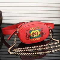 Gucci Waist Bag Chain Bag Women Fashion Leather Chain Waist Pack Satchel Shoulder Bag Crossbody B-MYJSY-BB Red