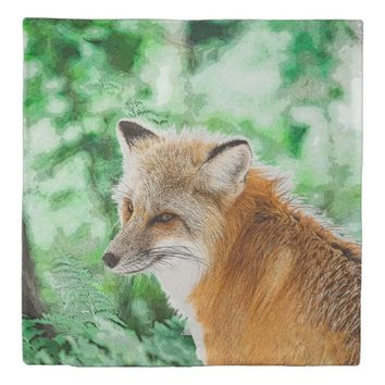Cute Wild Red Fox Drawing Duvet Cover