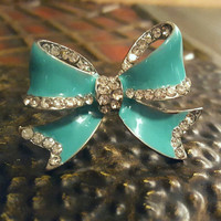 Adjustable Teal 3D Bow Ring