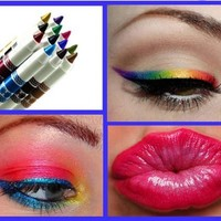 12 Ultra Bright Color Eyeshadow Lip Liner Pigment Cosmetic Makeup Set!!!
