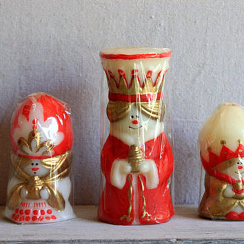 Vintage Christmas Candles in Original Box 3 Wise Men : mid-century