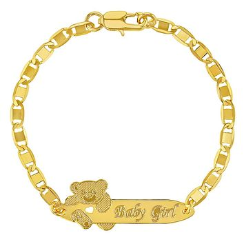 18k Gold Plated Teddy Bear Tag ID Identification Bracelet for Toddlers Girls 6""