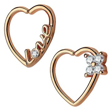 BodyJ4You 2PCS 16G (1.2mm) Daith Earring Piercing Heart Clear CZ Rose Gold Helix Cartilage Hoop Set