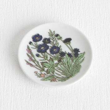 Vintage Ceramic Ring Dish with Tiny Blue and Pink Flowers