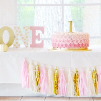 Pink, Cream, and Gold Tassel Garland Banner - Pink Party Decor, Party Decor, Birthday Party, Nursery Decor Pink Baby Shower, & Photo Prop