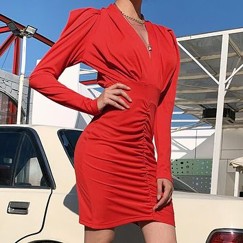 OL Long Sleeve Ruched Dress
