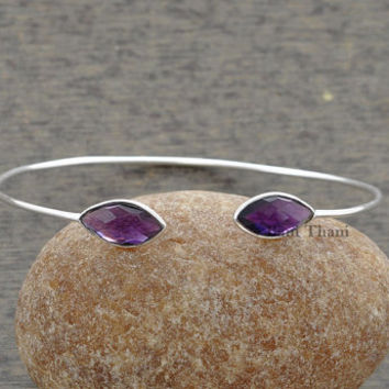 Amethyst Quartz 7x15mm Bangle - 925 Silver Jewelry - Jewelry - Silver Jewelry - Gemstone Bangle