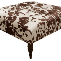 Elliot Tufted Cocktail Ottoman, Brown, Ottomans