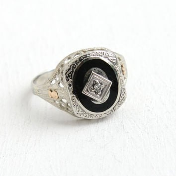 Antique 10K White Gold Black Enamel & Diamond Ring - Vintage Art Deco Filigree Size 6 1/2 Dated 1926 in Rose Gold Fine Jewelry