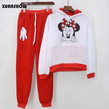 XUANSHOW 2018 Hot Selling Autumn Winter Casual Sportswear Cute Ear Minnie Mouse Printed Hooded Long-sleeved Suit Tenue Femme