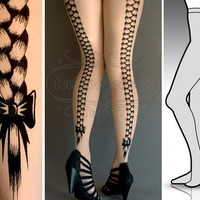 S/M sexy Rapunzel tattoo tights / stockings / full by tattoosocks
