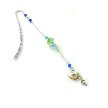 Beaded Bookmark ,  Swarovski Crystal Beads  ,  Key To My Heart Charm , Gift For Her