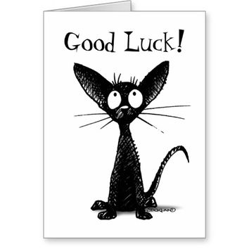 Good Luck Funny Custom Lucky Black Cat Greeting Card