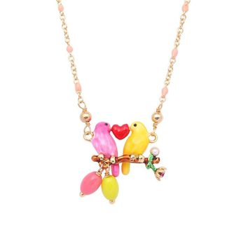Enamel Glaze Lovebirds Heart Branch Pendant Necklace For Women Simple Lovely Pink Yellow Birds Necklaces