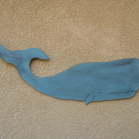 "Wooden Rustic Ocean Blue Whale 40"" Wall Decoration"