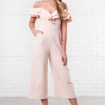 Viola Off The Shoulder Jumpsuit (Blush)