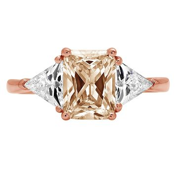 14K Rose Gold 3CT Emerald Cut Champagne Russian Lab Diamond Ring