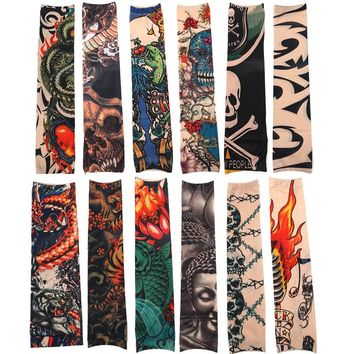 12pcs/Set Fashion Temporary Tattoo Sleeves Outside Hiking Riding Anti Sun Tattoo Sleeves Good Quality Tattoo Makeup Accessories