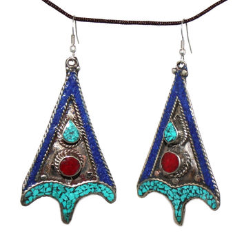 Lapis Coral turquoise Earring