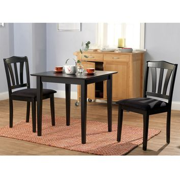 3-Piece Wood Dining Set with Square Table & 2 Chairs in Black