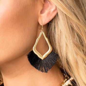 Mabel Black Tassel Earrings