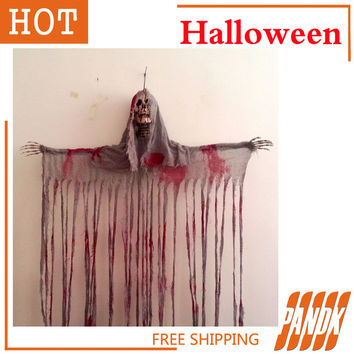 Hanging Reaper SKULL Head Zombie haunted house decorated Halloween props acoustic ghosts skeleton bloody door Skull curtain