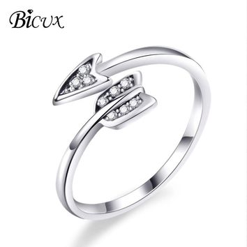 BICUX Fashion Silver Plated Arrow Crystal Rings for Women Adjustable Wedding Engagement Cubic Zirconia Ring Arrow Women Jewelry