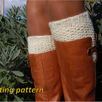 PATTERN, Knitting Pattern, Knitted Boot Socks, Wool Boot Cuffs, Womens Boot Cuffs, Knitted Leg warmer, Womens Boots Socks