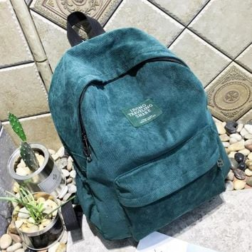 University College Backpack   new arrival Autumn and winter corduroy  female   bag student  women AT_63_4