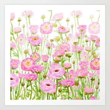 pink buttercup ranunculus field watercolor Art Print by Color and Color