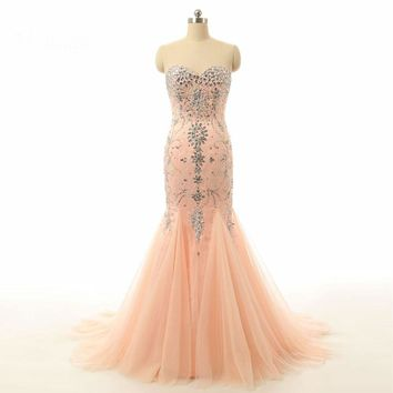 Beaded Evening Gown Long Mermaid Evening Dresses