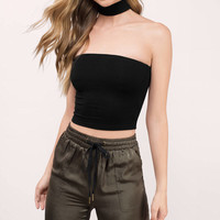 What The Neck Choker Strapless Crop Top