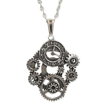 Vintage Steampunk mechanical gear clock Pendant Necklace