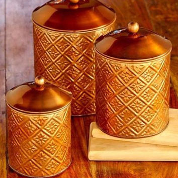Canister Set Embossed Metal Fresh Seal Bronze 3 Piece Coffee Tea Sugar Flour NEW