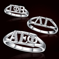 Sorority Ring with Stones | Sorority rings, gifts and jewelry from SomethingGreek.com