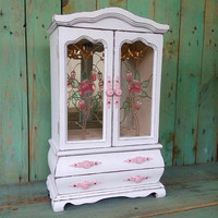 Large Vintage Shabby Chic Rustic Wooden Jewelry Box Armoire Painted Aspen White Distressed Upcycled Refurbished
