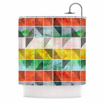 "bruxamagica ""Tartan Coral Gold Green"" Gold Coral Abstract Pattern Digital Vector Shower Curtain"