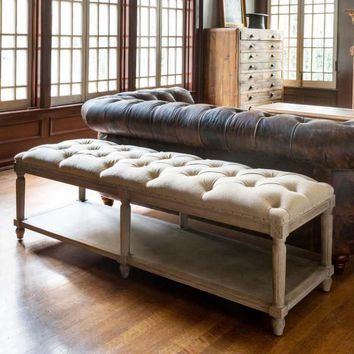 Tufted Bench with Shelf
